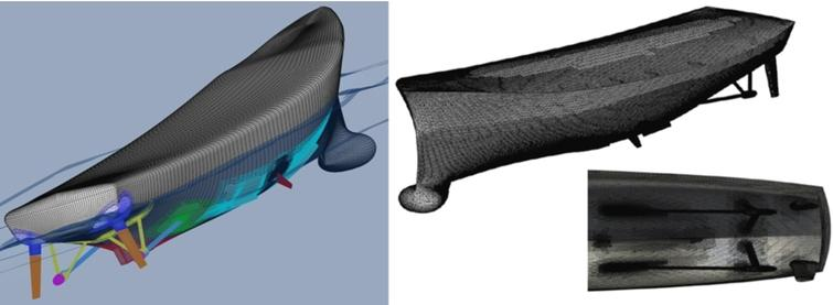 Overset grid system and instantaneous view of the free surface for CFDShip-Iowa (left) and unstructured grid system for ISIS-CFD (right).