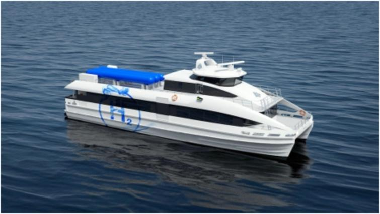 Illustration of a concept design (GKP7H2) of a hydrogen and fuel cell driven high speed passenger ferry [20].