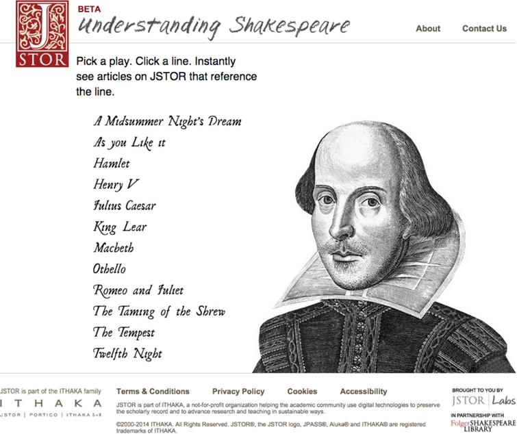 Understanding Shakespeare was the product of an open, exploratory collaboration with the Folger Shakespeare Library. (Colors are visible in the online version of the article; http://dx.doi.org/10.3233/ISU-150763.)