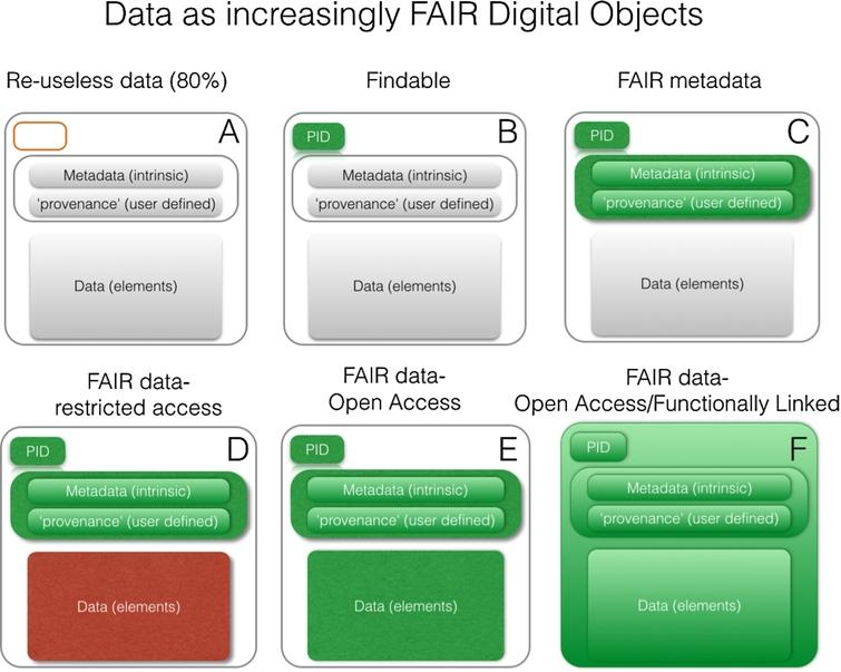 Varying degrees of FAIRness. As elements become coloured, they have become FAIR. For example, adding a persistent identifier (PID) increases the fairness of that component. Coloured elements in green are FAIR and open, coloured elements in red are FAIR and closed. In the final panel, the mechanism for expressing the relationship between the ID, the metadata, and the data, is also FAIR (i.e. follows a widely accepted and machine-readable standard, such as DCAT or NanoPublications) and interlinked with other related FAIR data or analytical tools on the Internet of FAIR Data and Services.