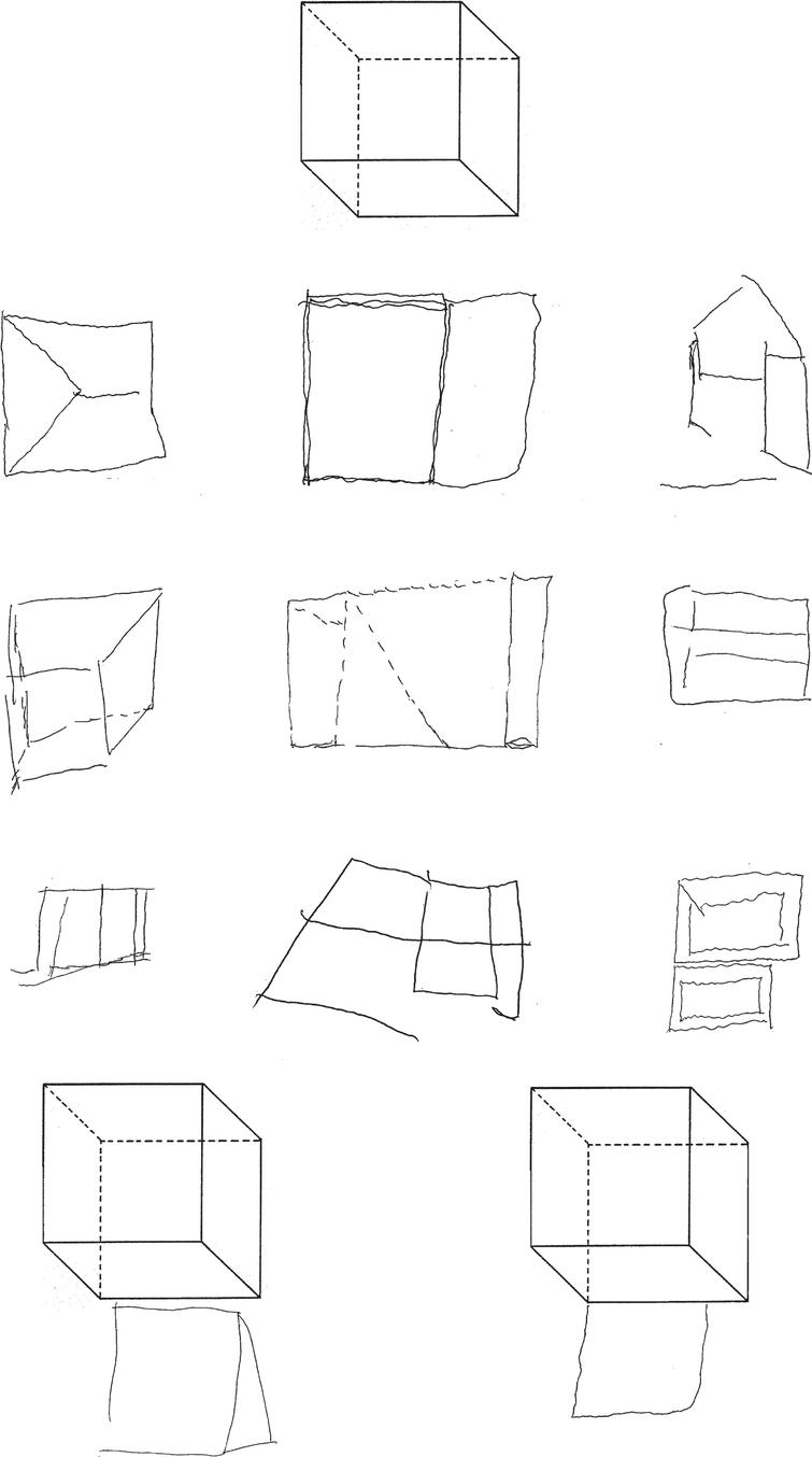 Copying of geometrical drawings: cube (model on the top). Gross simplifications, spatial distortions, errors of perspective in patients with Alzheimer's disease (first row) and vascular dementia (second row). Simplifications, distortions and perseverations in patients with moderate to severe frontotemporal dementia (third row). The bottom figures show instances of near closing-in (on the left) and of adherent closing-in (on the right).