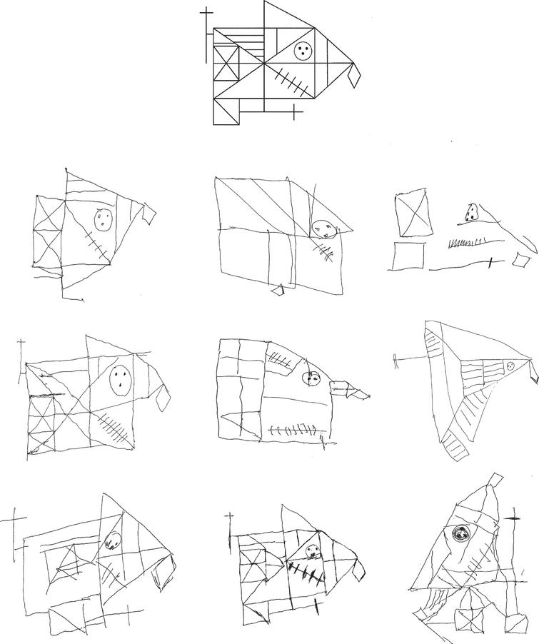 Copying of Rey complex figure (model on the top). Gross spatial distortions and simplifications in patients with Alzheimer's disease (first row); planning errors, spatial distortions, and perseveration in patients with vascular dementia (second row) and frontotemporal dementia (lowest row). In the left sided column are reported drawings of patients with mild forms and in the right-sided columns those of patients with severe forms of dementia. Note in the right top figure that the reproduction of the single subcomponents is relatively spared, but spatial relationships among them are lost; in the right bottom figure an instance of rotation.