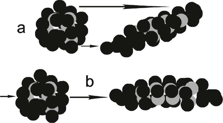 Hypothetical protein showing gray balls as hydrophobic groups and black balls as hydrophilic groups. The protein in (a) has undergone severe laminar shear to emphasize the resulting increased exposure of hydrophobic groups to the surrounding solvent. The same is true in (b) for extensional shear, where the molecule is essentially pulled lengthwise. Models are purely hypothetical. Energy is added to the molecule in both (a) and (b) forming unstable molecules. Most brain shear events probably have contributions of both (a) and (b) types of shear.