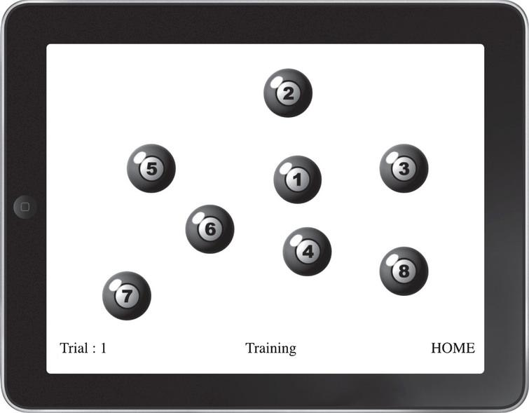 A screen shot of the iPad MILO task used in the current study.