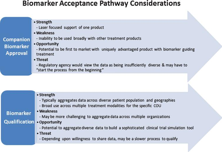 There are two independent biomarker acceptance pathways through which biomarkers can be integrated into drug development for a specific COU. The first is typically sponsored by a single company, and is focused on delivering a companion diagnostic assay that supports a single therapeutic product. The second is typically done collectively by a consortium that provides a diverse range of clinical data across multiple studies to support a specific COU that would have applicability across multiple treatment modalities. This figure summarizes the high-level considerations of each pathway.