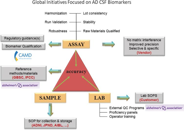 Current global initiatives focused on AD CSF biomarkers. Involvement of worldwide consortia in the standardization of CSF biomarker analysis at the level of the assay, the sample, and the laboratory. Grey box: the need for the future. ADNI, Alzheimer's disease neuroimaging initiative; AIBL, The Australian Imaging, Biomarker & Lifestyle Flagship Study of Ageing; CAMD, Coalition Against Major Diseases; GBSC, Global Biomarker Standardization Initiative; IFCC, International Federation of Clinical Chemistry; JPND, EU Joint Programme - Neurodegenerative Disease Research (JPND); QC, quality control; SOP, standard operating procedure.