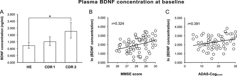 A) Baseline pBDNF was significantly higher in patients with moderate AD (CDR 2) than in healthy subjects (HE). B) In healthy subjects, a better cognitive status (higher MMSE score) was associated to a higher pBDNF. C) In AD patients, more impaired cognition (higher ADAS-Cogscore) was associated to higher pBDNF. In A, columns and error bars represent back-transformed means and 95% confidence interval. In B and C, a constant was added to the log-transformed data to avoid showing negative values.