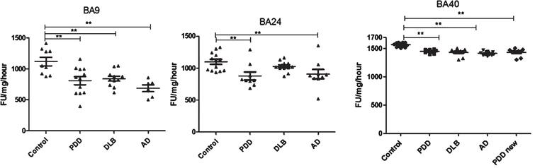 Analysis of chymotrypsin-like activities in brain homogenates from BA9, BA40, and BA24 of DLB, PDD, AD, and controls. Scatter plots are shown of chymotrypsin-like activity measurement in BA9, BA40, and BA24 homogenates from DLB, PDD, AD, and normal control samples using the fluorogenic substrate assay. Activities are expressed as fluorescence units (FU)/mg protein/hour. BA9; the activities' values for the control group were significantly higher than the PDD (p=0.004, n=12), DLB (p=0.013, n=11) and AD (p=0.001, n=6) groups. The ANOVA values for chymotrypsin-like activity measurement in BA9 are: F=7.897, d.f.=3 and 34, p=0.001) BA40; the activities' values for the control group (n=13) were significantly higher than the PDD (p=0.001, n=10), DLB (p=0.001, n=9), and AD (p=0.001, n=12) groups. The ANOVA for chymotrypsin-like activity measurement in BA40 (one-way ANOVA, F=30.033, d.f.=3 and 40, p=0.001; Bonferroni post hoc test) BA24; there was a significant difference between the PDD (p=0.015, n=9) and AD (p=0.044, n=9) groups compared with the control (n=13) (one-way ANOVA, F=4.664, d.f.=3 and 39, p=0.007; Bonferroni post hoc test). (**p < 0.01).