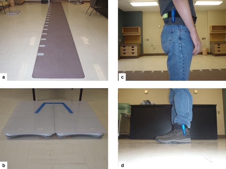 Equipment that will be used to assess gait and balance performance: (a) GaitRITE® mat for gait assessments; (b) Wii board adapted to assess balance control during rest conditions and sit-to-stand transitions; (c) Accelerometers attached to hips and ankles will be used in sites where they are available.