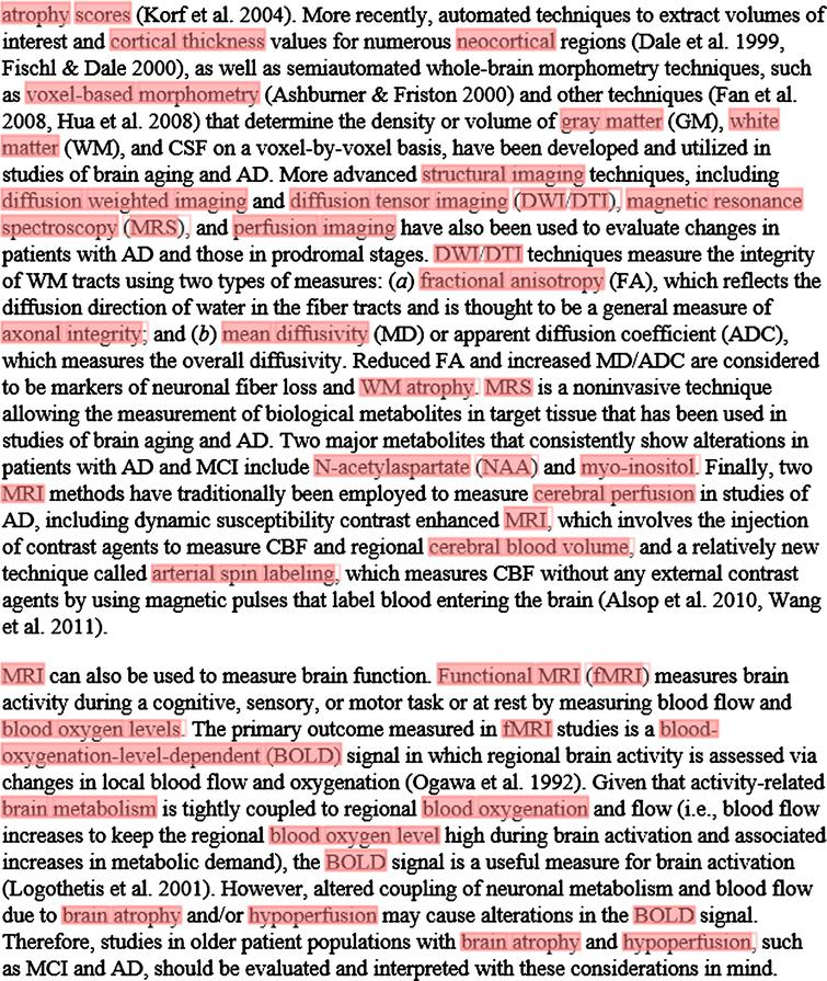 Annotation of a section of a full-text article using the NIFT terminology. The ProMiner tagger was used to identify NIFT terms in full text; matching terms are marked up in red.