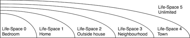 Life-space levels as proposed in [29]. Life-space of 0 is limited to the bedroom; Life-space of 1 is limited to the home of the person; Life-space of 2 is limited to the immediate outside of the home; Life-space of 3 is limited to the neighborhood; Life-space of 4 is limited to the town where the person is living; Life-space of 5 is unlimited.