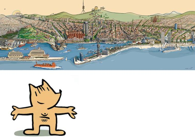 Barcelona and Cobi, the mascot for the Barcelona 1992, by Javier Mariscal, an interdisciplinary artist born in Valencia, working and living in Barcelona since 1970.