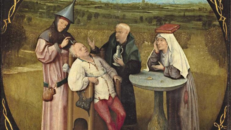 Hieronymous Bosch, The Extraction of the Stone of Madness (1501–1505), Museo Nacional El Prado, Madrid.
