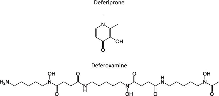 Chemical structure of two iron chelators, deferiprone and deferoxamine (also known as desferrioxamine), highlighting the large structural differences in many of these compounds that chelate or modulate metals.
