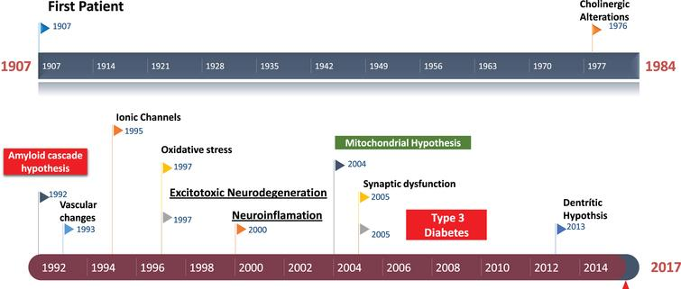 Historical perspective of Alzheimer's disease. Amyloid cascade hypothesis was suggested in 1992. The role of excitotoxicity in AD was suggested about 1997.