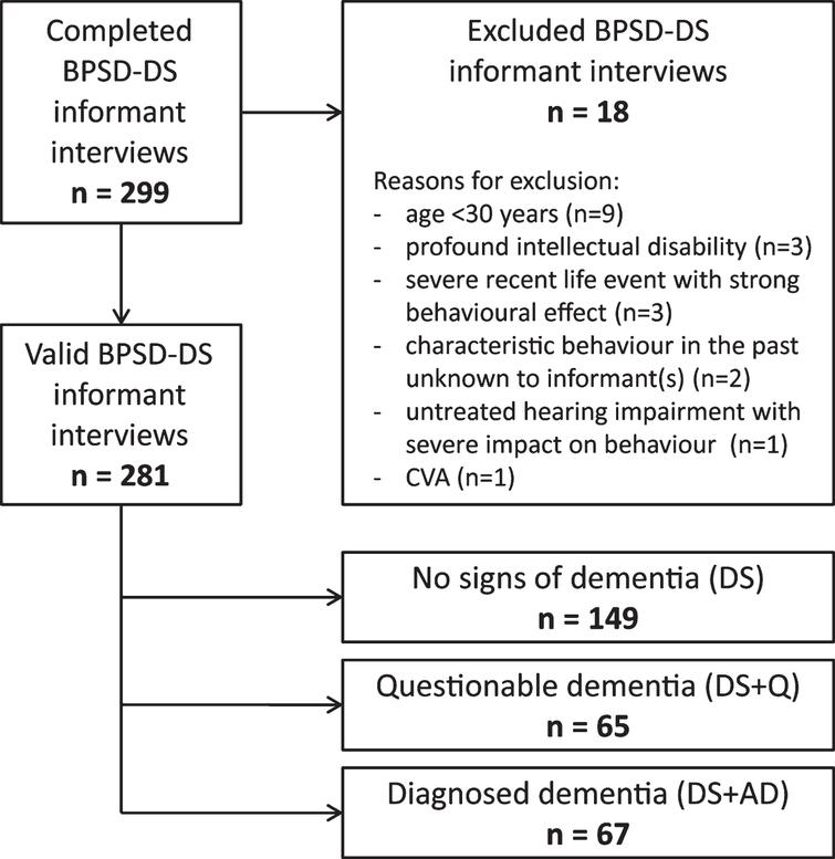 Schematic overview of included and excluded BPSD-DS informant interviews, subdivided in the three diagnostic groups. BPSD-DS, Behavioral and Psychological Symptoms of Dementia in Down Syndrome scale; CVA, cerebrovascular accident.