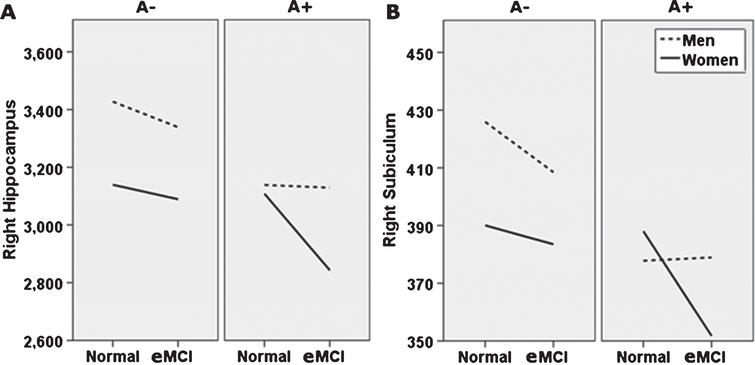 Alternate presentation of sex moderation of diagnosis and amyloid status effects (breakdown by amyloid status). Sex moderates effects of diagnosis and Florbetapir PET amyloid positivity (A+) on right whole hippocampal volume (A), and right subiculum (B). Specifically, normal control (NC) women with A+ show whole and subfield volumes more comparable to NC women with a negative amyloid PET (A−), while NC men do not. At the early mild cognitive impairment (eMCI) stage, effects of A+ on total and subfield volume did not differ by sex, but generally related to smaller volumes across participants. Although not directly tested in this analysis, as shown, this figure also suggests that for A+ individuals, receiving an eMCI diagnosis is related to smaller volumes, specifically in women. A–, 18F-PET amyloid negative; A+, 18F-PET amyloid positive. For ease of viewing, hippocampus and subfield volume units are raw, uncorrected, in milimeters3.