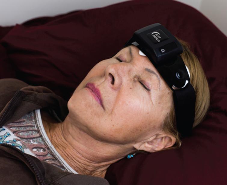 Photo of subject wearing the Sleep Profiler.
