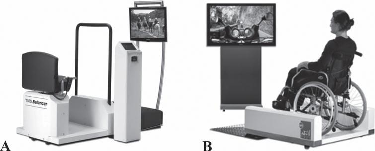 A) The balancer with a chair, screen, and control panel, and B) the wheelchair pod with a wheelchair platform and television screen (identical control panel as in Fig. 1A is not depicted). A wheelchair as well as a normal chair could be safely secured on the wheelchair platform. Both platforms are used to provide the TMSim, WBV, and TMSim+WBV intervention sessions.