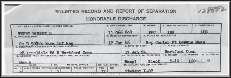 Top section of Bob's Terry Honorable discharge from the Infantry as Private First Class in 1946.
