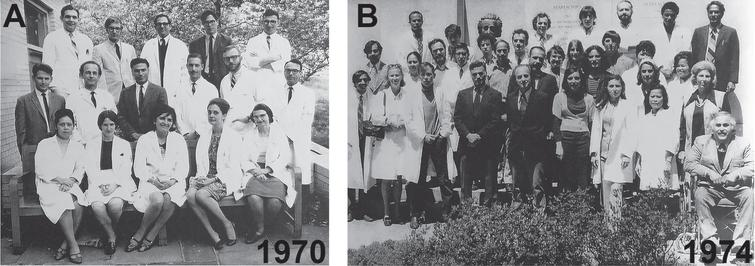 Robert Terry's Neuropathology teams at the Einstein in the Bronx NY. A) In 1970, Bob Terry at the center with Henry Wisniewski to the left and Michael Shelansky in the back row. B) As the group has grown and prospered in 1974, with Bob Terry and Henry Wisniewski in the front row center and Khalid Iqbal in the far left.