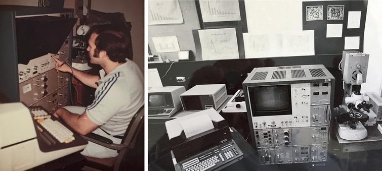 The era of neuronal quantification in early 1980s. Richard DeTeresa operating the newly acquired Quantimet image analyzer at the Einstein in the Bronx.