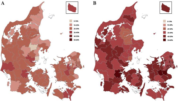 A) Age and sex standardized prevalence of opioid use among home-living patients with dementia across the Danish municipalities. White indicates exclusion due to insufficient data. B) Age and sex standardized prevalence of opioid use among nursing home residents with dementia across the Danish municipalities. White indicates exclusion due to insufficient data.