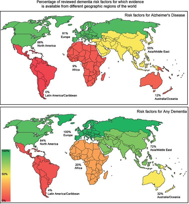 World maps showing distribution of evidence on risk factors for Alzheimer's disease and Any Dementia.
