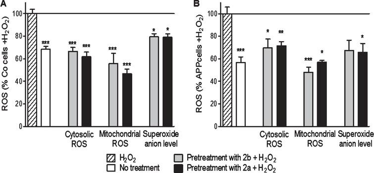 2b and 2a decreased H2O2-induced raise of ROS in control (Co, A) and APP (B) cells. Co cells were pre-treated with 10 nM of the TSPO ligand 2b or 2a for 24 h and then exposed to H2O2 (500 μM for 3 h). H2O2 treatment induces an increase of the cytoslic ROS, mitochondrial ROS, and superoxide anion level in Co and APP cells. 2a and 2b reduced significantly the ROS generation under oxidative stress conditions. Values represent the mean±SEM; n=4–6 replicates of three independent experiments normalized to Co or APP cells treated with H2O2. One-way ANOVA and post hoc Dunnett's multiple comparison test versus Co or APP cells treated with H2O2. *p<0.05, **p<0.0001, ***p<0.001.