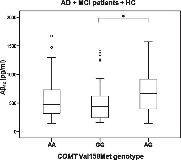 Levels of Aβ42 in AD, MCI patients and HC with different COMT Val158Met genotype. *p < 0.05.