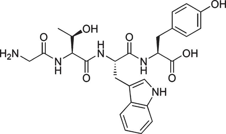Chemical structure of β-lactolin. The chemical structure of β-lactolin, glycine-thereonine-tryptophan-tyrosine (GTWY) lactotetrapeptide.