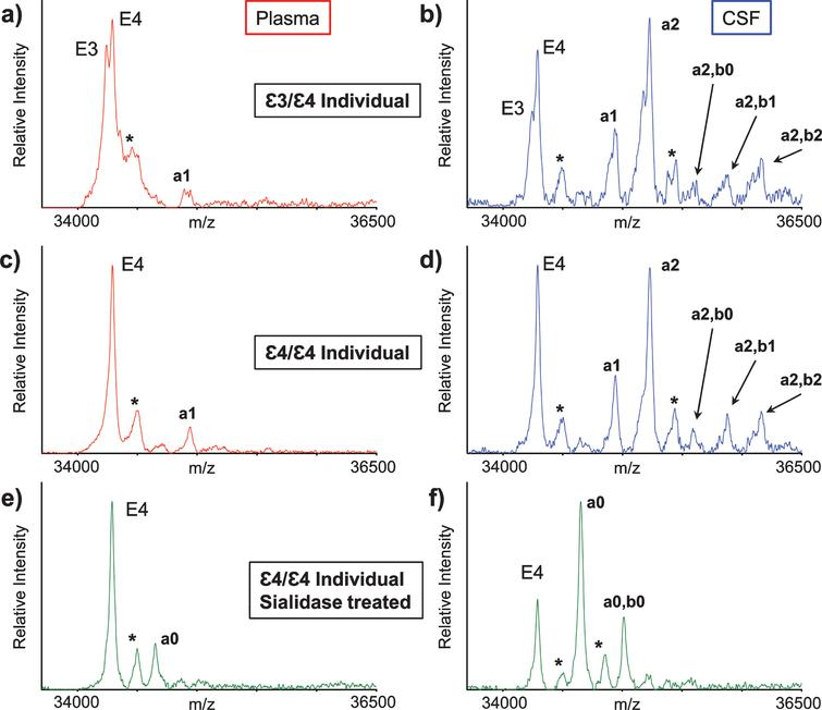 Mass spectra resulting from the analysis of the matched plasma and CSF from a heterozygous ɛ3/ɛ4 individual (a, b) and a homozygous ɛ4/ɛ4 individual (c, d). Mass spectra after sialidase treatment of plasma and CSF samples from the ɛ4/ɛ4 individual (e, f). Matrix adduct peaks are labeled with *. For the glycan peak labeling, structure, and predicted masses, see Table 1.