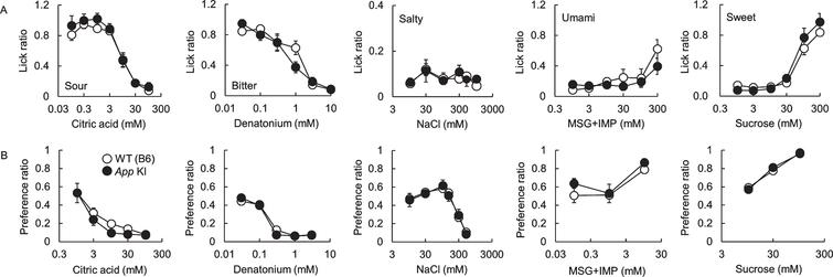Comparison of taste sensitivities for basic tastes in wild type (WT) and App knock-in (KI) mice. The lick (A) and preference (B) ratios for citric acid, denatonium, NaCl, MSG + 0.5 mM IMP, and sucrose are shown. White and black circles indicate WT and App KI mice, respectively.