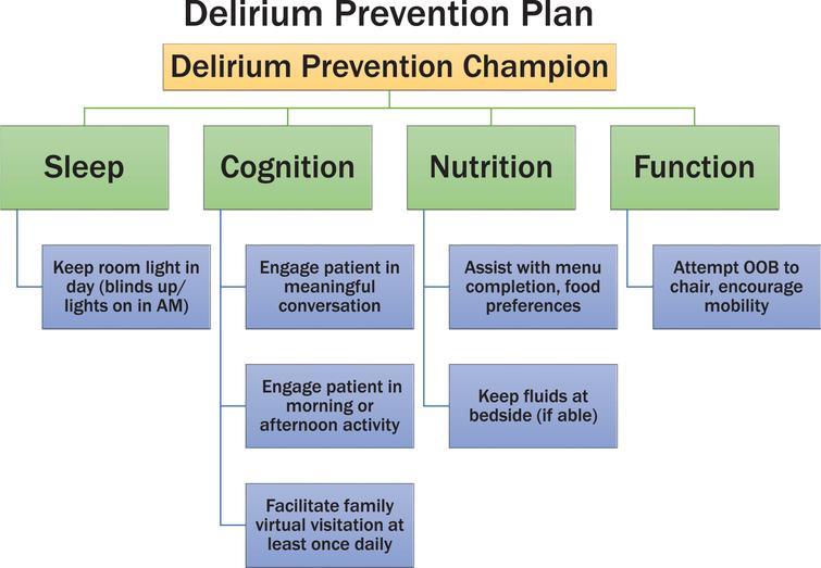 """Figure demonstrating the delirium prevention project. A """"delirium prevention champion"""" is a nursing staff member who addresses these four interventions on a daily basis for COVID positive patients."""