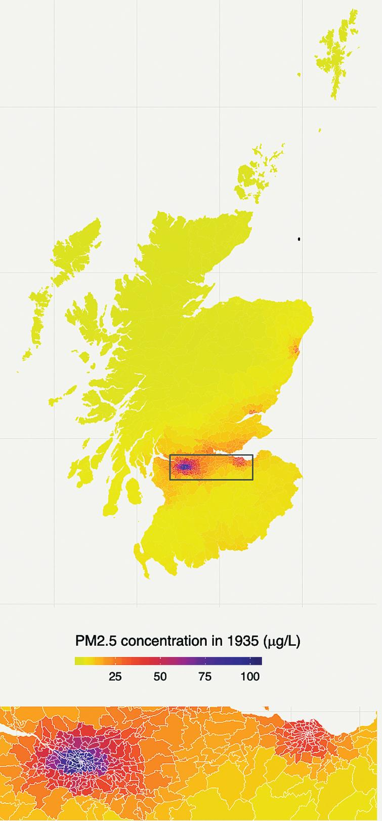 Modelled particulate matter (PM2.5) values in 1935: life course air pollution exposure and cognitive decline in the LBC1936.The area displayed in the lower panel and enclosed in a box on the upper panel is the central belt of Scotland including Glasgow (left) and Edinburgh (right). Over half of the population of Scotland lives in this area.