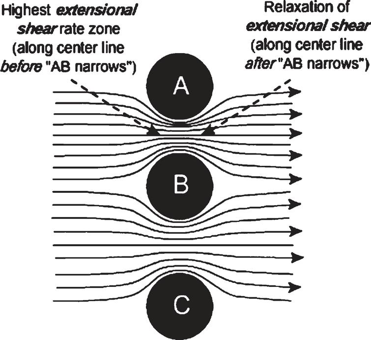 In both cases, extensional shear is found on the left side. A lower extensional shear rate is found between B and C. Predominant laminar shear is found close to A, B, and C surfaces.