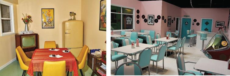 Glenner Town Square: A typical dining room at home and Rosie's Diner. Reprinted with permission from the George G. Glenner Alzheimer's Family Centers, Inc®.