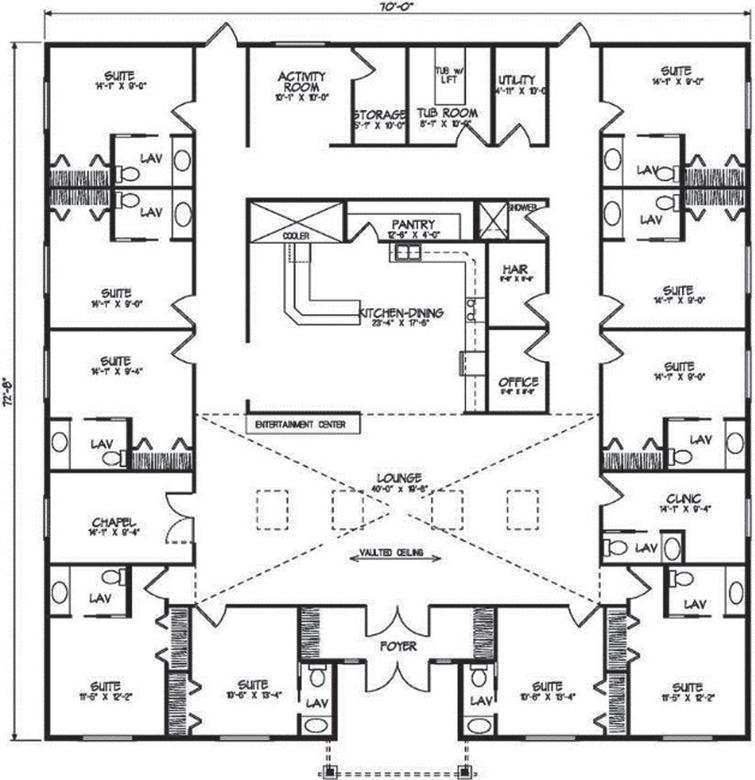 A floor plan with central hearth area to aid in wayfinding. Reprinted from Google Free Images.