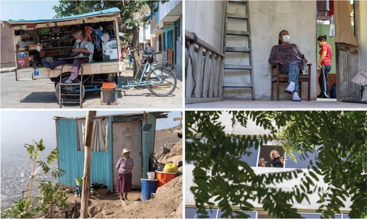 Testimonies from Peru highlighting different dimensions of the coronavirus outbreak and their impact on older people, and patients with cognitive decline and their families. The pictures above illustrate the people's vulnerabilities and the unpreparedness of the health system. Top left inset: Enrique (64 years old, Trujillo) suffers from diabetes mellitus but has been unable to get medication for two months. He is a shoe repairer with a small mobile stall and, after months of quarantine, he has to go out to work. Top right inset: Juana (64 years old, Trujillo) is a merchant diagnosed with coronavirus three months ago, which led to her needing supplemental oxygen and intravenous medications. Given the collapse of the hospitals, she was treated at home by her daughter. She thought she might lose her life, unable to perform simple activities (such as walking and eating) without great effort. Now she is recovering. Bottom left inset: Enedina (65 years old, Lima) lives with her youngest son who lost his job due to the pandemic restrictions. They live in a precarious room, without electricity, water or drainage. Bottom right Inset: On the other side of Lima, 83-year-old Mrs. Rosita lives with her family in a wealthy district. Her daughter has noted typical dementia symptoms, which have exacerbated since the quarantine. She doesn't understand the isolation, needs constant monitoring and urgently requires a neurological evaluation, but there are no services available due to the pandemic. Photos and testimonies from Peru documented by Alexander Kornhuber and Maritza Pintado Caipa. Individuals and relatives portrayed in the photos have provided written consent for reproduction. Reproduced with authorization from [98].