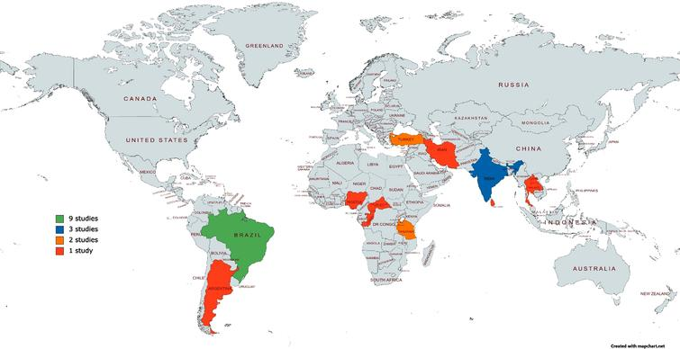 Heat map of locations for research into the development, adaption, and validation of assessments for instrumental activities of daily living to support dementia diagnosis in low-middle income countries.