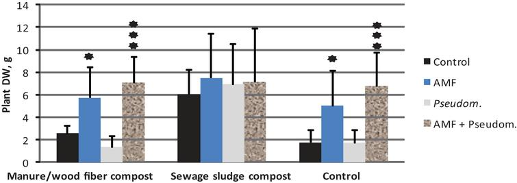 The impact of microbial inoculation on  strawberry shoot dry weight (mean+std; N = 12) on two growing media containing compost and in the  control without compost ((experiment 3, see Tables 1 & 2). The results are means of Phytophthora-inoculated and non-inoculated. ★= significantly different from control treatment at p <  0.05, ★★★= significantly different from control treatment at p <  0.001.
