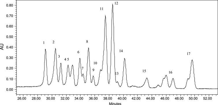 "Typical HPLC chromatogram (Abs 520nm) of blueberry juice anthocyanins. peak 1, delphinidin 3-O-galactoside (m/z 465/303); peak 2, delphinidin 3-O-glucoside (m/z 465/303); peak 3, cyanidin 3-O-galactoside (m/z 449/287); peak 4, delphinidin 3-O-arabinoside (m/z 435/303); peak 5, cyanidin 3-O-glucoside (m/z 449/287); peak 6, petunidin 3-O-galactoside (m/z 479/317); peak 7, cyanidin 3-O-arabinoside (m/z 419/287); peak 8, petunidin 3-O-glucoside (m/z 479/317); peak 9, peonidin 3-O-galactoside (m/z 463/301); peak 10, petunidin 3-O-arabinoside (m/z 449/317); peak 11, malvidin 3-O-galactoside (m/z 493/331); peak 12, malvidin 3-O-glucoside (m/z 493/331); peak 13, peonidin 3-O-arabinoside (m/z 433/301); peak 14, malvidin 3-O-arabinoside (m/z 463/331); peak 15, delphinidin 3-O-(6""-acetylglucoside) (m/z 507/303); peak 16, petunidin 3-O-(6""-acetylglucoside) (m/z 521/317); peak 17, malvidin 3-O-(6""-acetylglucoside) (m/z 535/331)."
