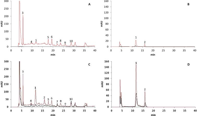 HPLC-DAD chromatograms of polyphenols in 50% red (A and B) and 100% red (C and D) stages recorded at 260nm (A and C) and 500nm (B and D). X-axis represents the retention time (min) and Y-axis the absorbance. Black lines indicate internal tissues and red lines external tissues. Peak numbers refer to Table 1.