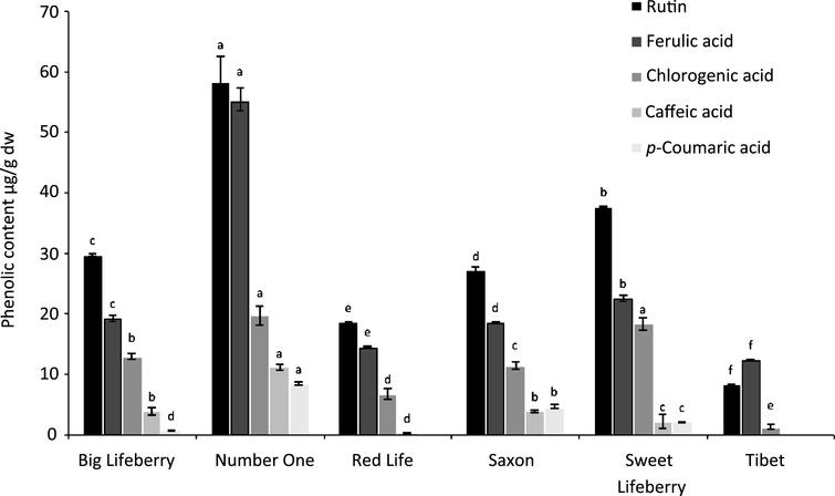 Phenolic compounds content of goji berries. Each bar represents mean±standard deviation of samples from 4 different plots. Means with different letters are significantly different (p<0.05).