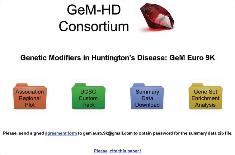 GeM-HD Euro 9K website. The opening page of the GeM-HD Euro 9K website, which can be accessed through HDinHD (https://www.hdinhd.org/), provides links to regional association plots by gene or SNP, to the University of California at Santa Cruz Genome Browser with a custom track for the GWA data, to a summary data download and to a utility that performs Gene Set Enrichment Analysis for user-specified custom gene sets.