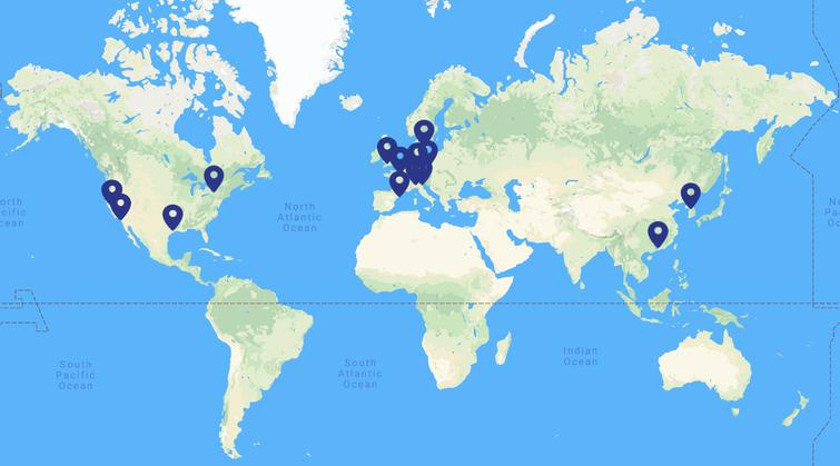 The current geographical distribution of the members involved in SC4HD consortium. 28 members are distributed on 10 countries from 3 continents.