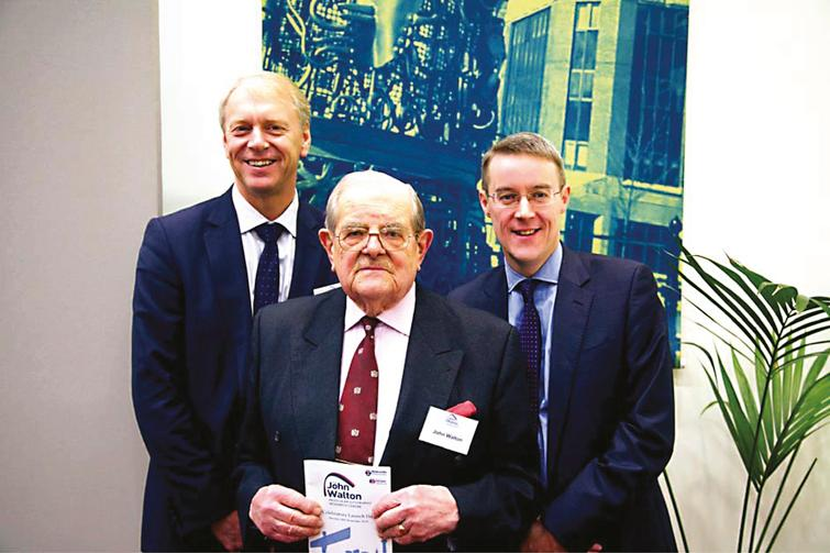 Lord Walton (middle) with Professor Chris Day (Pro-Vice-Chancellor, Faculty of Medical Sciences, Newcastle University, left) and Professor Patrick Chinnery (Director Institute of Genetic Medicine, Newcastle University, right) during the launch of The Newcastle University John Walton Muscular Dystrophy Research Centre on November 24, 2014.
