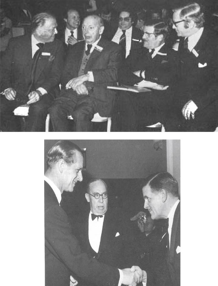 (upper panel, from left): Richard Attenborough (later Lord Attenborough of Richmond upon Thames), Professor F.J. Nattrass (former Professor of Medicine at University of Newcastle), John Walton and Paul Walker (Executive Director of the Muscular Dystrophy Group as Muscular Dystrophy UK was then known). (lower panel, from left): His Royal Highness Prince Philip, Duke of Edinburgh, Lord Heyworth, who for a brief period was Chairman of the Muscular Dystrophy Group, and John Walton..