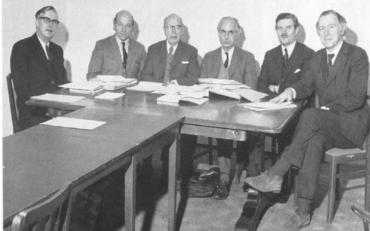 The Research Committee of the Muscular Dystrophy Group with – from the left - Professor Joe Smith (Birmingham), Professor Ian Simpson (Glasgow), Professor Fred Nattrass, Professor Sir Andrew Huxley (a Nobel Laureate and Chairman of the Committee), John Walton and Professor Victor Perry..
