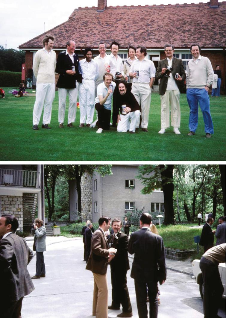 (upper panel): Annual retreat and cricket match at Close House around 1970 showing (back row, from left) NN, Jack Foster, Anil Desai, David Barwick, Peter Tilley, David Gardner-Medwin, Peter Hudgson, John Walton, NN. Kneeling at the front Russell Lane and Dr al-Jishi. (lower panel): Erik Stalberg, John Walton, back view of Alan McComas.